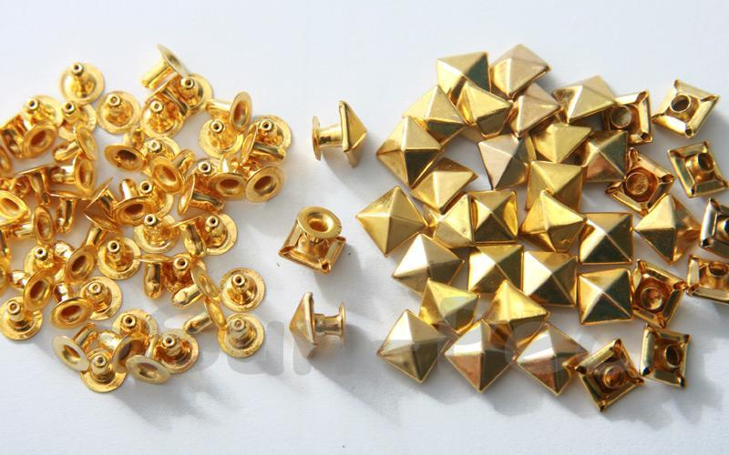 Gold 7mm Square Pyramid Dome Rivet & Burr Sets 10pcs - 60pcs