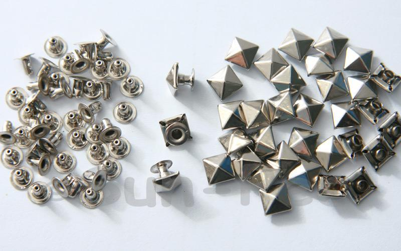 Silver 7mm Square Pyramid Dome Rivet & Burr Sets 10pcs - 60pcs