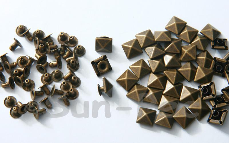 Bronze 8mm Square Pyramid Dome Rivet & Burr Sets 10pcs - 60pcs