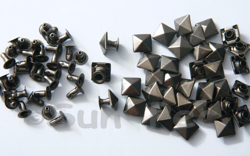 Gunmetal Black 8mm Square Pyramid Dome Rivet & Burr Sets 10pcs - 60pcs