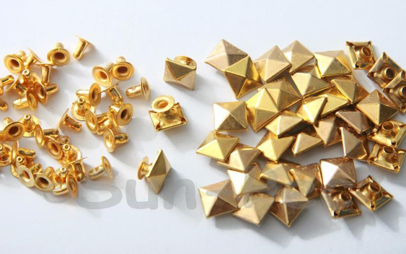 Gold 8mm Square Pyramid Dome Rivet & Burr Sets 10pcs - 60pcs