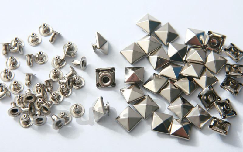 Silver 8mm Square Pyramid Dome Rivet & Burr Sets 10pcs - 60pcs