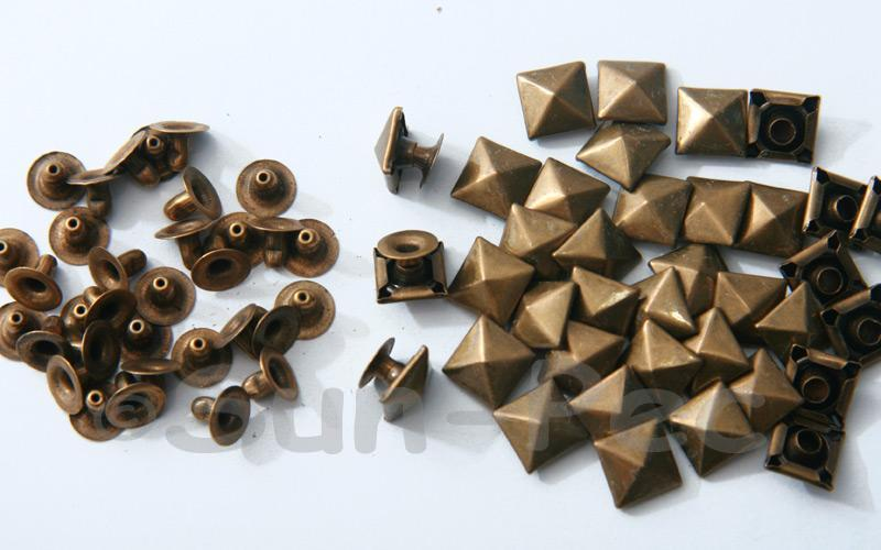 Bronze 9mm Square Pyramid Dome Rivet & Burr Sets 10pcs - 60pcs