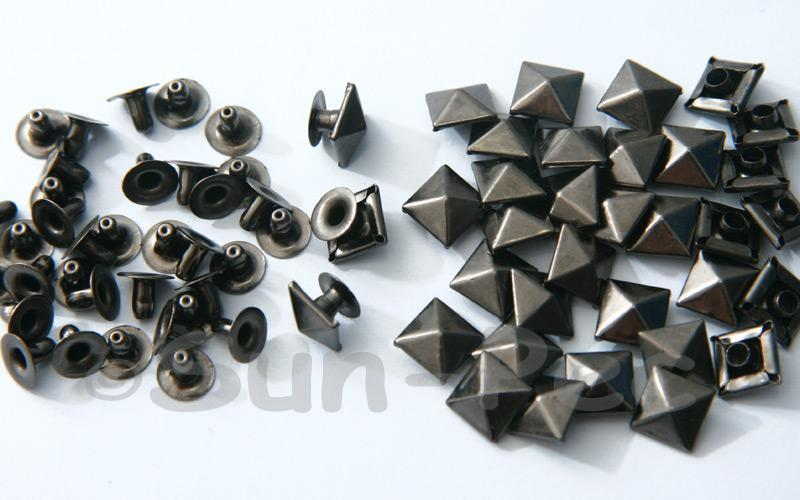 Gunmetal Black 9mm Square Pyramid Dome Rivet & Burr Sets 10pcs - 60pcs