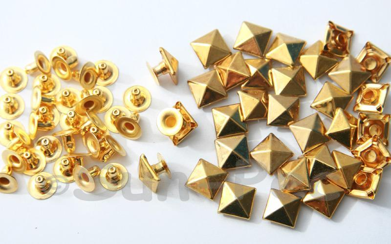 Gold 9mm Square Pyramid Dome Rivet & Burr Sets 10pcs - 60pcs