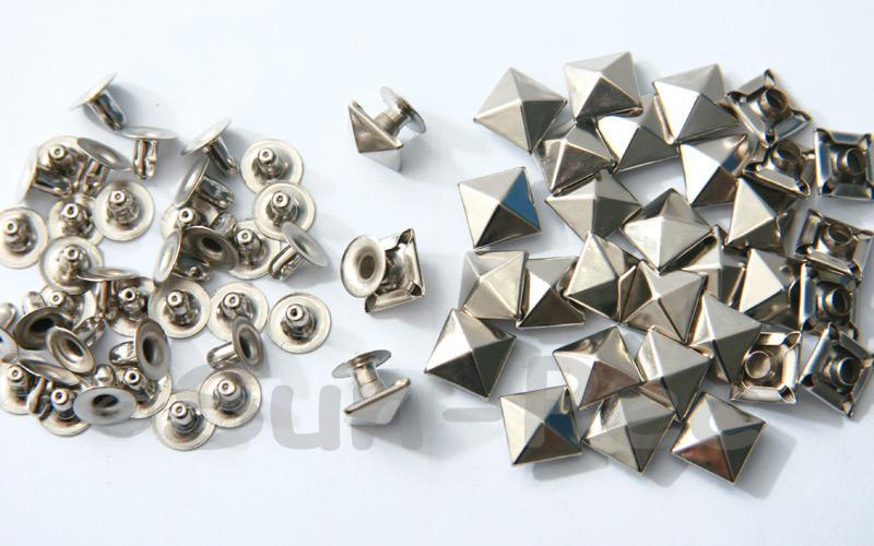Silver 9mm Square Pyramid Dome Rivet & Burr Sets 10pcs - 60pcs