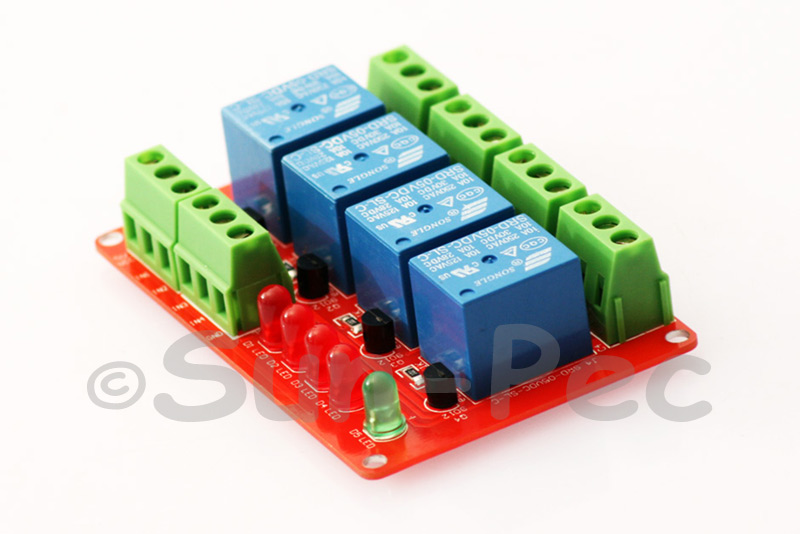 5V4CHRLY 5V Four 4 Channel Relay Module With optocoupler For PIC AVR DSP ARM Arduino 8051 5V 15-20mA (0.015A-0.02A) 1pcs