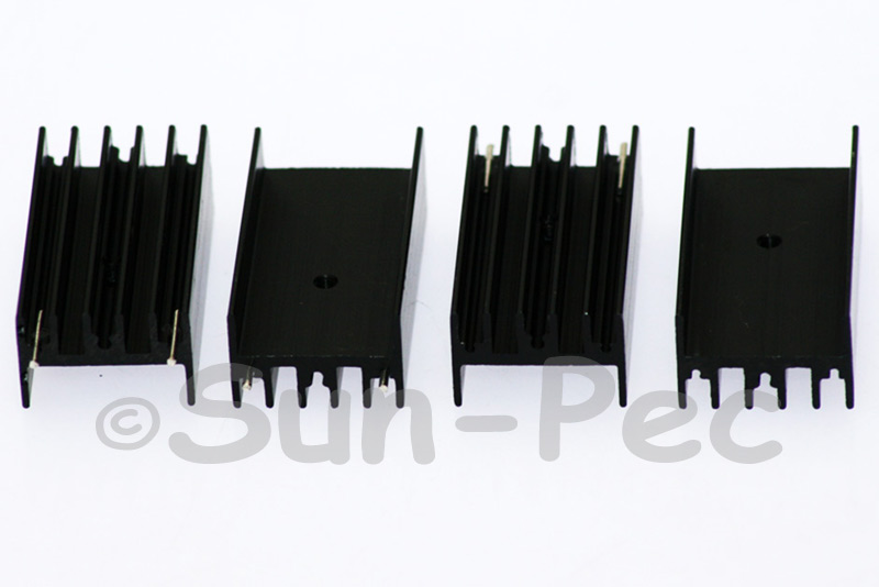 Aluminum Heatsink Heat-Sink MOSFET/volt regulator TO-220 Black 45 x 23 x 16mm 2pcs - 20pcs