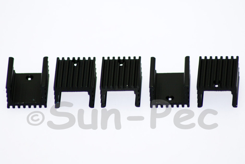 Aluminum Heatsink Heat-Sink MOSFET/volt regulator TO-220 Black 20x15x10mm 2pcs - 20pcs