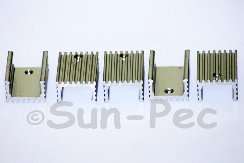 Aluminum Heatsink Heat Sink MOSFET/volt regulator TO-220 Silver 20 x15 x 10mm 2pcs - 20pcs