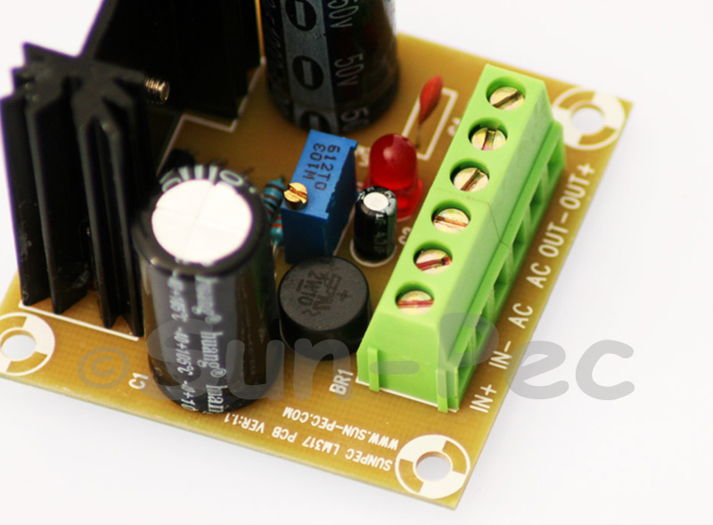 1000UF Sun-Pec Power Supply Board AC 3.5V-35V DC 3.5V-35V in DC out LM317 w/ Heat Sink 1.5A 1pcs