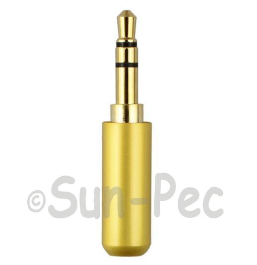 Gold Male Repair headphone Jack 3 Pole Gold 3.5mm 1pcs - 3pcs
