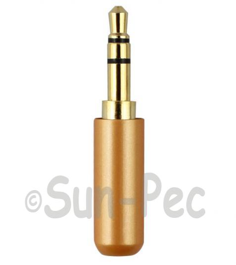 Gold Male Repair headphone Jack 3 Pole Orange 3.5mm 1pcs - 3pcs