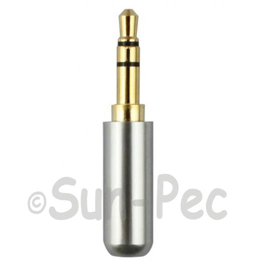 Gold Male Repair headphone Jack 3 Pole Silver 3.5mm 1pcs - 3pcs