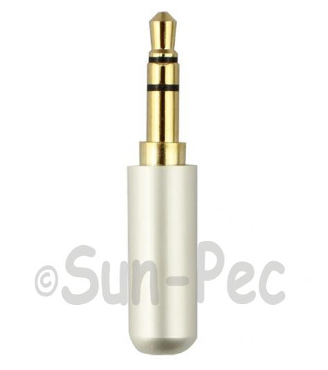 Gold Male Repair headphone Jack 3 Pole White 3.5mm 1pcs - 3pcs
