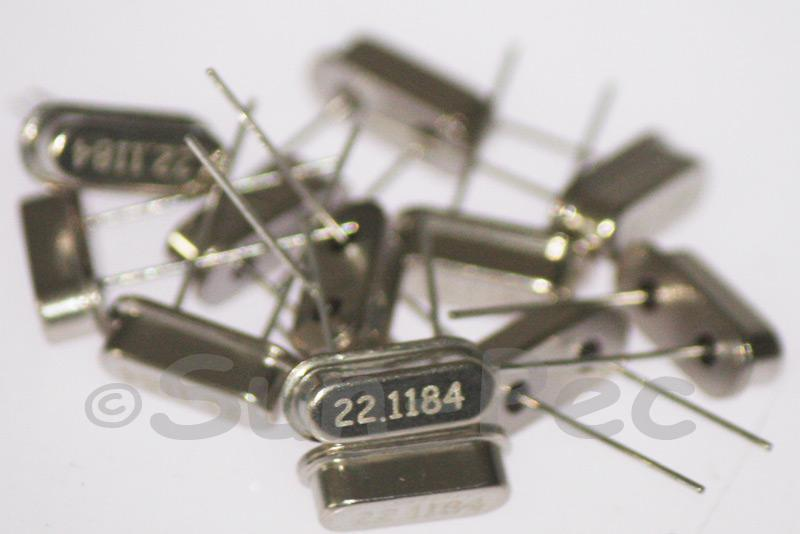 22.1184 MHz Crystal Oscillator Low Profile HC-49S 5pcs - 50pcs