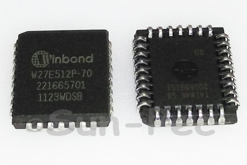 W27E512P-70 WINBOND 64K x 8 ELECTRICALLY ERASABLE EPROM 5V 30mA PLCC-32 1pcs