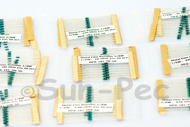 1/8W 0.025W Metal Film Resistor +-1% 0 Ohm - 10M Ohm choices 50pcs - 200pcs