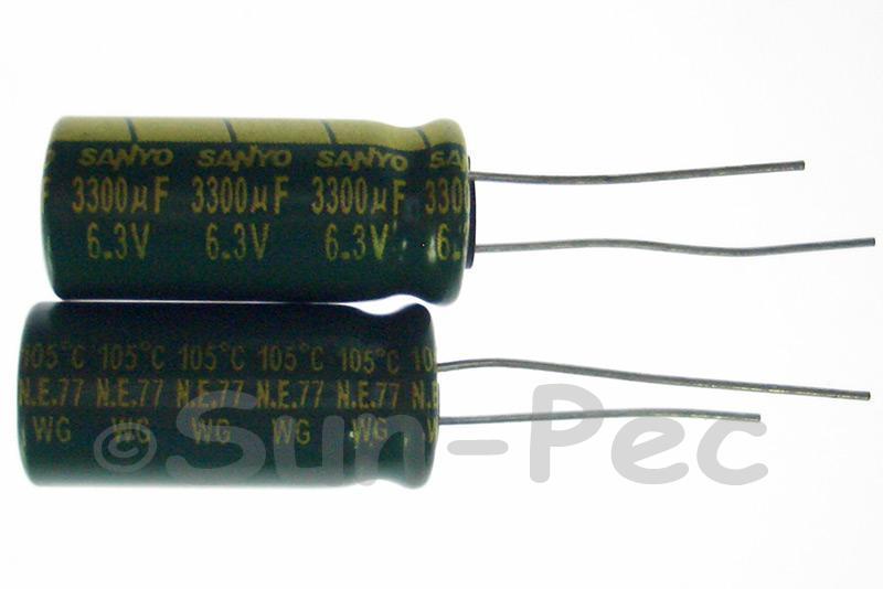 6.3V 3300uF Electrolytic Capacitor E-Cap +-20% 10x20mm 2pcs - 10pcs