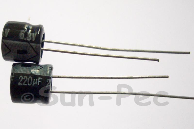 6.3V 220uF Electrolytic Capacitor E-Cap +-20% 5x5mm 10pcs - 100pcs