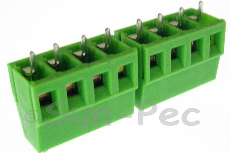 4 Pins Poles PCB Screw Terminal Block Connector 300V 10A 4 Pole Green 4pcs - 20pcs