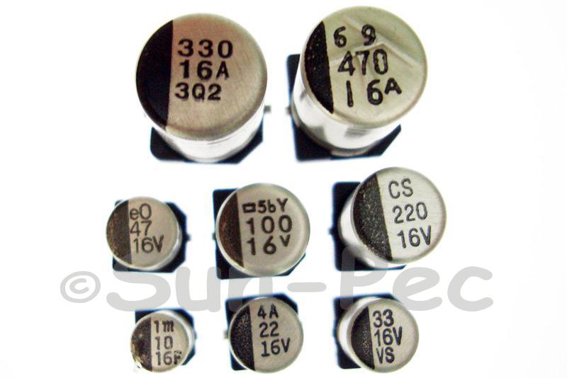 SMD Electrolytic Capacitor Chip E-Cap 16V +-20% 100uf 6.3x7.7mm 10pcs - 40pcs