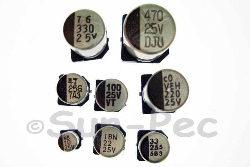 SMD Electrolytic Capacitor Chip E-Cap 25V +-20% 22uf 5x5.7mm 10pcs - 40pcs