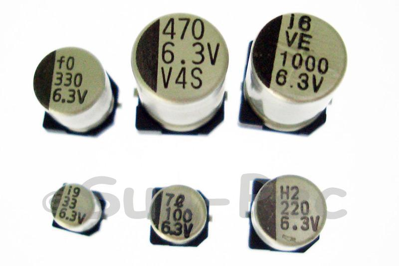 SMD Electrolytic Capacitor Chip E-Cap 6.3V +-20% 1000uf 8x12mm 5pcs - 15pcs