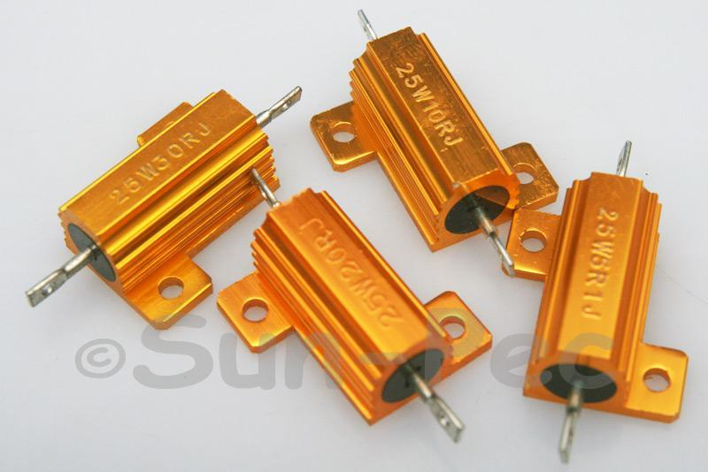 25W Wirewound Resistor Aluminium Clad 0.1 Ohm - 10K Ohm choices 1pcs - 2pcs
