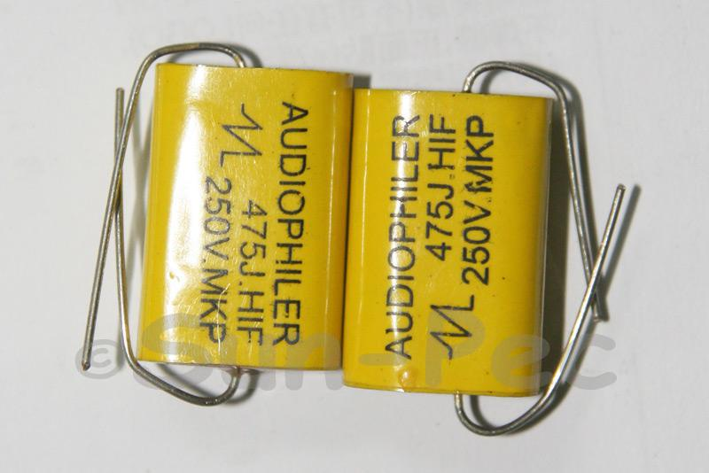 475 Polyester Film Capacitor CL 250V 4.7uf Axial Audiophiler 35 x 9.5 x 17.5mm
