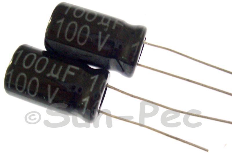 100V 100uF Electrolytic Capacitor E-Cap +-20% 10x17mm 2pcs - 10pcs