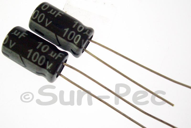 100V 10uF Electrolytic Capacitor E-Cap +-20% 6.3x12mm 10pcs - 80pcs