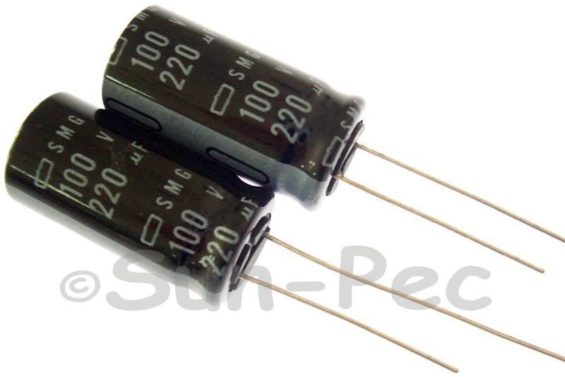 100V 220uF Electrolytic Capacitor E-Cap +-20% 13x25mm 2pcs - 10pcs