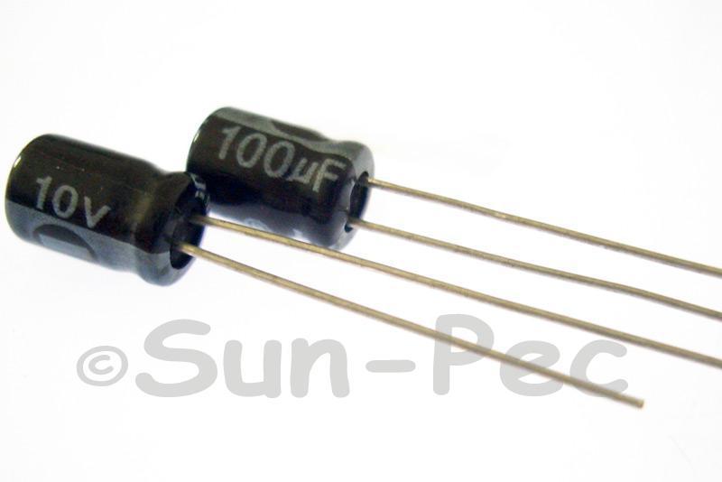 10V 100uF Electrolytic Capacitor E-Cap +-20% 5x7mm 10pcs - 100pcs