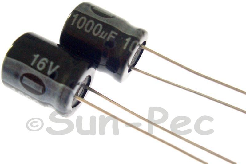16V 1000uF Electrolytic Capacitor E-Cap +-20% 10x13mm 2pcs - 10pcs