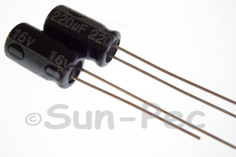 16V 220uF Electrolytic Capacitor E-Cap +-20% 6x12mm 10pcs - 50pcs