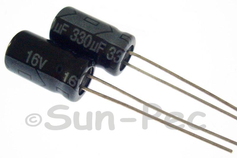 16V 330uF Electrolytic Capacitor E-Cap +-20% 6x12mm 10pcs - 50pcs