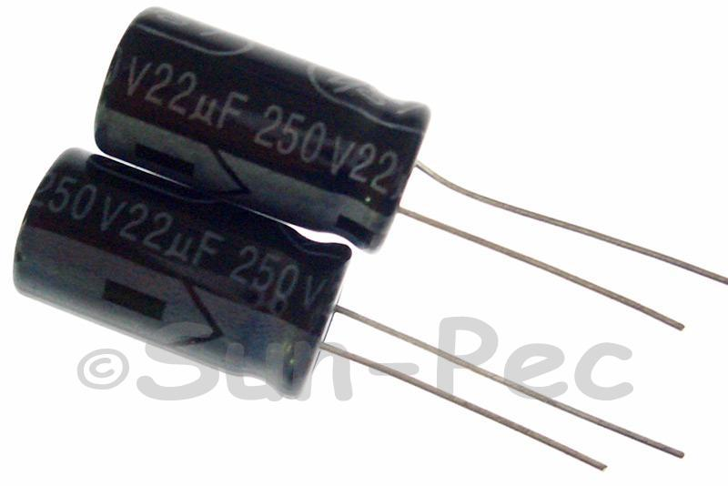 250V 22uF Electrolytic Capacitor E-Cap +-20% 10x20mm 2pcs - 10pcs