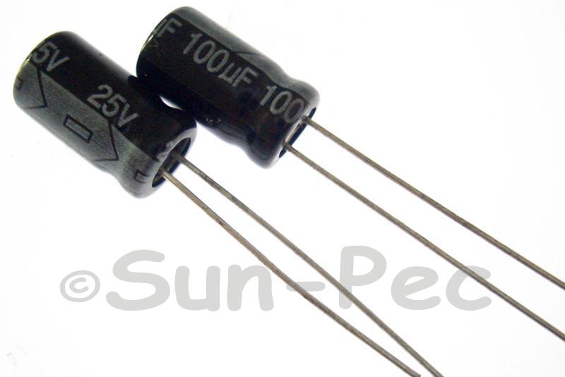 25V 100uF Electrolytic Capacitor E-Cap +-20% 6x12mm 10pcs - 100pcs