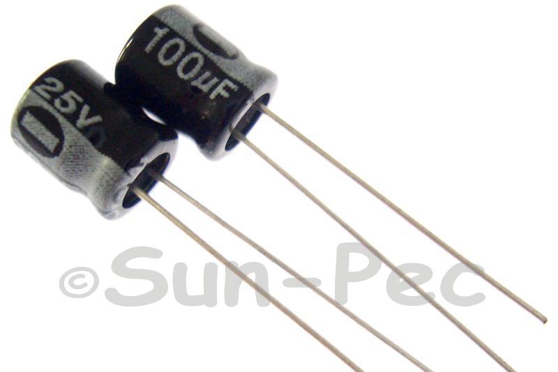 25V 100uF Electrolytic Capacitor E-Cap +-20% 6x7mm 10pcs - 50pcs