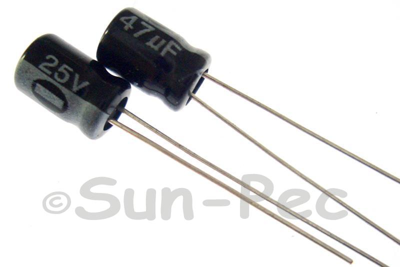 25V 47uF Electrolytic Capacitor E-Cap +-20% 5x7mm 10pcs - 100pcs