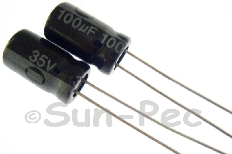35V 100uF Electrolytic Capacitor E-Cap +-20% 6x12mm 10pcs - 50pcs