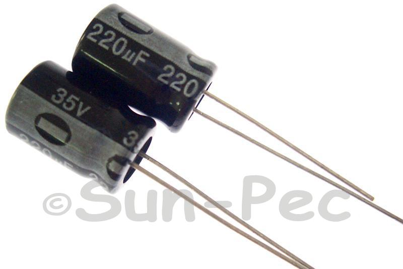 35V 220uF Electrolytic Capacitor E-Cap +-20% 8x12mm 2pcs