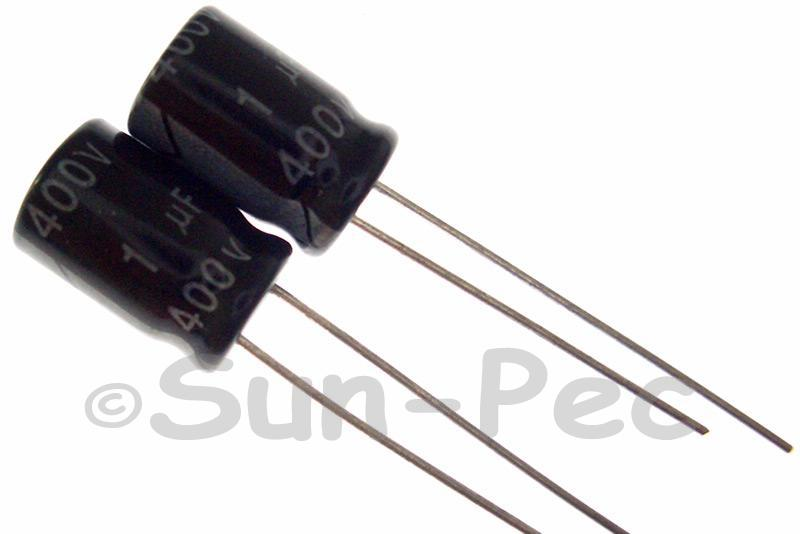 400V 1uF Electrolytic Capacitor E-Cap +-20% 8x12mm 5pcs