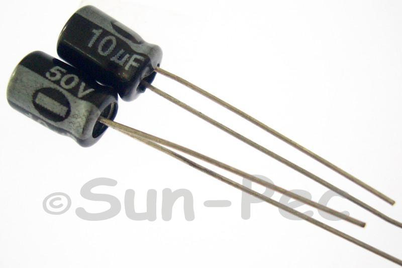 50V 10uF Electrolytic Capacitor E-Cap +-20% 5x7mm 15pcs - 100pcs