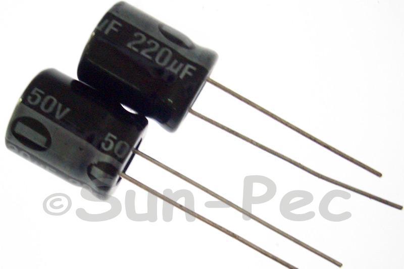 50V 220uF Electrolytic Capacitor E-Cap +-20% 10x13mm 5pcs - 30pcs
