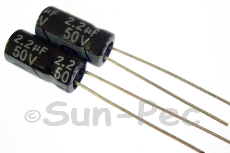 50V 2.2uF Electrolytic Capacitor E-Cap +-20% 4x7mm 20pcs - 100pcs