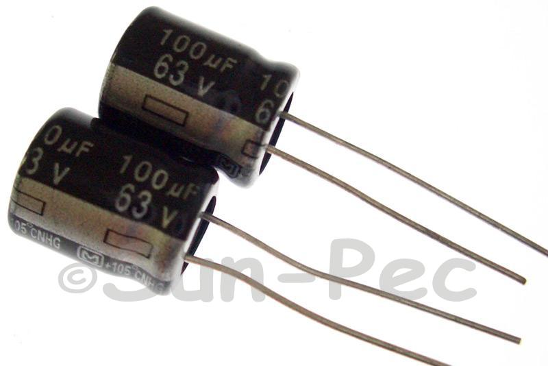 63V 100uF Electrolytic Capacitor E-Cap +-20% 10x13mm 5pcs
