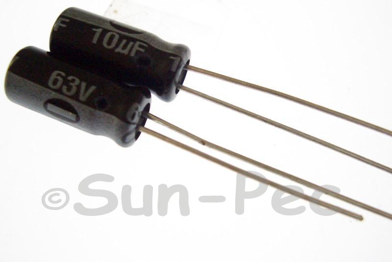 63V 10uF Electrolytic Capacitor E-Cap +-20% 5x11mm 20pcs