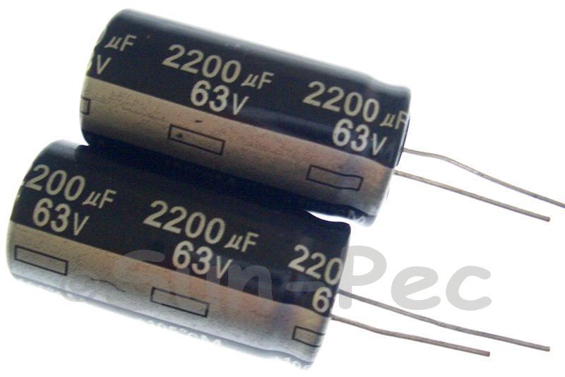 63V 2200uF Electrolytic Capacitor E-Cap +-20% 18x35mm 2pcs